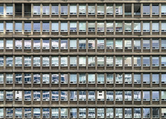 Windows, Residential Apartments, Toronto, Ontario (duaneschermerhorn) Tags: toronto ontario canada city urban downtown architecture building skyscraper structure highrise architect modern contemporary modernarchitecture contemporaryarchitecture windows pattern glass drapes curtains grid abstract