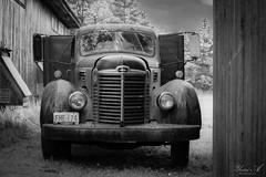 Old Truck - IR (Yosri Al-Kishawi) Tags: truck antique bw barn farm vehicle derelict old grill headlights rust pickup infrared
