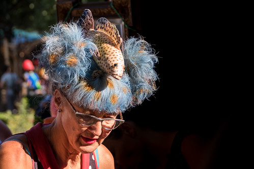 Creative hairdo at the Buskers Festival in Bern, Switzerland