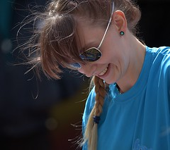 A Happy Moment (Scott 97006) Tags: woman female lady smile happiness shades cute pretty braid beauty happy excited sunglasses earing turquoise bokeh