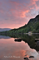 The Solace Of The Dawn (jeanette_lea) Tags: landscape united kingdom derwentwater keswick the lake district cumbria sunrise dawn lowlight colours reflections sky clouds trees rocks fells