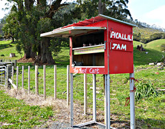 The Red Cart (sallyNZ) Tags: scavenger3 handwriting red roadside stall farm
