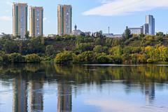 Waterfront of Krasnoyarsk city (man_from_siberia) Tags: krasnoyarsk city siberia waterfront yenisei river water riverside riverbank reflection buildings