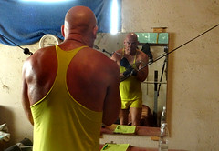 Let's Begin (licornenoir) Tags: people man weight training home gym bodybuilding body shaping