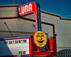 LUNA (Rusty Irons) Tags: newmexico theater cinema movie palacehollywood small town luna lunar moon night noir stars neon sign old america roadside trip red blue yellow