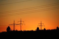Orange sky and powerlines (Sven Bonorden) Tags: sunset sonnenuntergang orange sky himmel powerline stromleitung emschertal ickern silhouette trees bäume