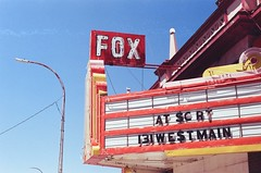 FOX marquee (radargeek) Tags: film 35mm minolta x370s colorado expired trinidad fox theater theatre marquee sign neon 2017