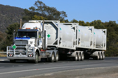 Tanking (2/3) (Jungle Jack Movements (ferroequinologist)) Tags: tank tanking tanktainer freighter western star kenworth red white hume highway boxers creek goulburn new south wales nsw australia layanda qui chemtrans hp horsepower big rig haul haulage freight cabover trucker drive transport carry delivery bulk lorry hgv wagon road nose semi trailer deliver cargo interstate articulated vehicle load ship move roll motor engine power teamster truck tractor prime mover diesel injected driver cab cabin loud rumble beast wheel exhaust double b grunt