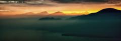 Sunset over Lake Garda (Andy J Newman) Tags: glow olympus landscape sunset mist italy panorama sun panoramic garda sanzeno colorefex salo toscolanomadernu beautiful om lake mountain