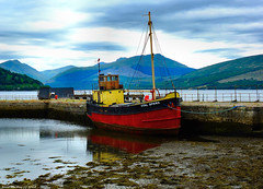 Scotland West Highlands Argyll the Clyde Puffer Vital Spark docked at Inveraray at low tide 7 July 2018 by Anne MacKay (Anne MacKay images of interest & wonder) Tags: scotland west highlands argyll mountains loch fyne cargo ship clyde puffer vital spark docked inveraray low tide 7 july 2018 picture by anne mackay