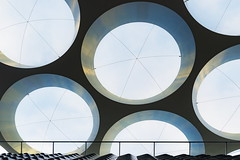 O (Maerten Prins) Tags: nederland netherlands utrecht station trainstation baldekijn canopy round circle circles sky upshot geometric geometry line dot dots abstract lines architecture