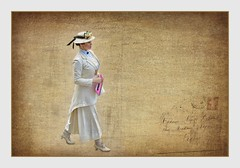 Madam Secretary (Christina's World Off and On) Tags: digitalpainting digitalart woman white vintage festival hat textures streetphotography realpeople candid candidportrait costume marktwain sandiego california oldtown
