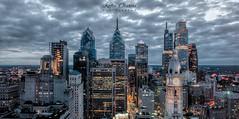Philadelphia City Skyline at Night (Kofla Olivieri) Tags: adobephotoshopelements koflaolivieri cityhall downtown centercity marketstreet loewshotel 33rdfloor skyline night longexposure topazadjust