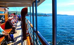 Scotland West Coast the paddle steamer Waverley nearing Largs 1 July 2018 by Anne MacKay (Anne MacKay images of interest & wonder) Tags: scotland west coast sea passengers people clyde paddle steamer waverley largs 1 july 2018 picture by anne mackay