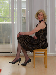 Sitting on a stool. (sabine57) Tags: crossdressing transvestism crossdress crossdresser cd tgirl tranny transgender transvestite tv travestie drag pumps highheels pantyhose dress choker anklechain