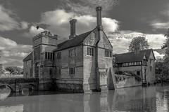 Baddesley Clinton (FlickrDelusions) Tags: baddesleyclinton moatedhouse warwickshire bw blackandwhite moat nationaltrust knowle england unitedkingdom gb