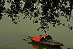 """The mind is its own place and in itself, can make a Heaven of Hell, a Hell of Heaven."" - John Milton (Abeer!) Tags: abeer abeerbarman boat bengal westbengal fishing green ghat ganga india landscape leaves nature portrait princepghat river reflection sky scenery shore bank hooghly tree trees water waterscape kolkata calcutta twin"