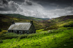 Forgotten Bothy (daedmike) Tags: scotland garrow highlands hills bothy abandoned clouds heather grass stream