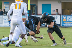 """PVHS v. Palatka-69 (mark.calvin33) Tags: football field sport ball """"high school"""" """"ponte vedra high pvhs block tackle rush run pass catch receiver blocker """"running quarterback fumble completion reception hike pitch snap """"friday night lights"""" fans stands kick """"end zone"""" """"nikon 2018 win athletics athletes """"night photography"""" """"sharks football"""" back d7100"""