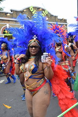DSC_7529 Notting Hill Caribbean Carnival London Exotic Colourful Blue and Gold Costume with Ostrich Feather Headdress Girls Dancing Showgirl Performers Aug 27 2018 Stunning Ladies Big Beautiful Woman BBW (photographer695) Tags: notting hill caribbean carnival london exotic colourful costume girls dancing showgirl performers aug 27 2018 stunning ladies blue gold with ostrich feather headdress big beautiful woman bbw