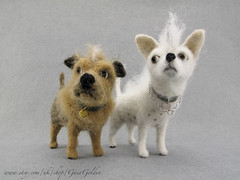 Sid and Nancy felted dog Punk duo! (GaiaGolden) Tags: punk dog felted animal portrait handmade figurines wool sculpture ornaments gift his hers ooak terrier chihuahua white tan collar bespoke