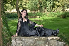 Gothic look. (pstone646) Tags: youngwoman younglady people portrait pretty beauty outdoors outside graveyard tattoos pierced boots