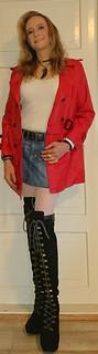 When it's getting colder, but you still want to wear miniskirts! #miniskirt #denimskirt #skirt #coat #redleather #overkneeboots #highheels #fishnets #fishnetstockings #whitefishnets #happygirl #autumnwear #autumn