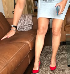 MyLeggyLady (MyLeggyLady) Tags: cleavage hotwife milf sexy secretary teasing minidress thighs cfm pumps stiletto red legs heels