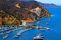 Avalon Casino (Meeting Place), Catalina Island (iseedre) Tags: catalinaisland avalonbay pacificocean avaloncasino boats cruisers hills sage scrub roads tourists condos parks cabanas