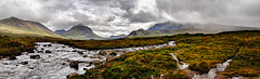 Sligachan, Isle of Skye, Scotland (vincocamm) Tags: skye isleofskye scotland panoramic rain mist sun cloud cloudy water river sligachan heather rocks highlands panorama wideview