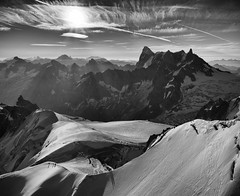 Sunrise over Mont-Blanc massif with Grandes Jorasses (ChristianMandel) Tags: ilce7iii sonya7iii sonnartfe35mmf28za mountains sunrise blackandwhite landscape montblancmassif grandesjorasses panorama