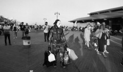 Just another day at Coney Island (neilsonabeel) Tags: nikonfe2 nikon nikkor blackandwhite coneyisland newyorkcity brooklyn boardwalk mask 24mm hockeymask urban city