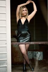 Leah (Ray Akey - Photographer) Tags: collaboration posing female model leah pretty blonde graveyard bus