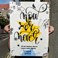 It's now or never - Demotivational Poster no. 71 (yellow star) (id-iom) Tags: art arts brixton cool demotivate demotivational england graffiti honest idiom inspire london motivate motivational never now paint quote spray spraypaint stencil text urban