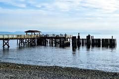 Davis Bay Pier (Davis Bay) - Sunshine Coast (SonjaPetersonPh♡tography) Tags: davisbay davisbaypier pier thesunshinecoast sunshinecoast nikon nikond5300 bc britishcolumbia canada coastline pacificnorthwest pacificocean beach rockybeach clouds water swimming fishingpier waterscape rocks