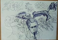 """""""back to"""" ... unknown year (ginnumberone1) Tags: gin sketch graffiti art artwork painting drawing instaart style markers paper oldschool old unknown car gun character communism sherlock"""