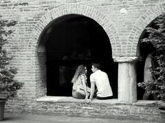 Bologna (loungerie) Tags: bologna italy italia church chiesa chiostra chiostro people stranger bn bw blackandwhite blackwhite biancoenero couple love amore sitting intimacy