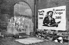 The Pittsburgh File (Nathan Gentry) Tags: street streetphotography streets rockandroll guitar longexposure greens atm green pirates exit exitsign parkinggarage pittsburgh pa pennsylvania color film 35mm canonae1 ae1 canonfilm blackandwhite graffiti streetart mural streetmural contrast trash