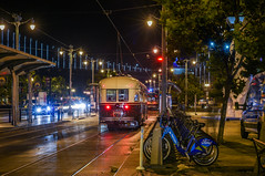 bike and ride (pbo31) Tags: bayarea california nikon d810 color september 2018 city urban boury pbo31 summer sanfrancisco night dark black financialdistrict lightstream motion traffic roadway embarcadero bike streetcar muni ford rental reflection