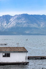 On the quiet side (A Different Perspective) Tags: california southlaketahoe usa boathouse mountain wall water window
