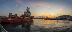 Drapetsona Harbour Panorama (panos_adgr) Tags: nikon d7200 drapetsona attica greece sea water handheld sunset sky clouds reflections cranes industrial port