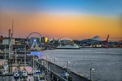 Seattle's Waterfront   -0518-10-17- (zayaspointofviewphotography1) Tags: seattle washingtonstate waterfront sunset colorful mountrainier centurylink safecofield greatwheel portofseattle seattleferryboat d850 nikon