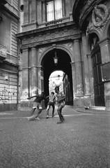 analog world - Catania, Sicily (Bartosz Lisek) Tags: 2017 analog bw biketravel blackandwhite canona1 city epsonv600 europe fd28mm film football iso400 italy kentmere400 kids people sicily sport streetphotography xray