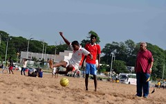 DSC_7574 (rajashekarhk) Tags: football practice sundaymorning gamesatthebeach marinabeach colours chennai capital children play playful nikon natural nature beauty blue beach beachwalk photography rajashekar red ball tamilnadu travalphotography jump