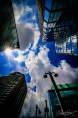 Look up! (corineouellet) Tags: sunrays sun mirror miroir reflet reflection canada explore ottawa canonshot canonphoto canon canoncanada architecture building cityscape city upintheair cloudysky cloudy clouds bluesky sky pointofview pointdevue pov