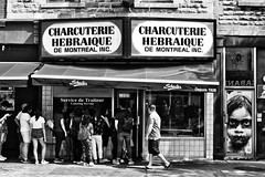 Schwartz's (stephaneblaisphoto) Tags: quebec adult architecture building exterior built structure canada city communication crowd full length group people lifestyles men nonwestern script real sign text western women street bw blackandwhite monochrome