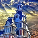 Van Wert Ohio - Van Wert County Courthouse is a historic governmental building in downtown Van Wert -  Exterior at Sunset thumbnail