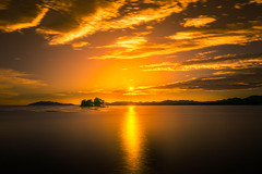sunset 4384 (junjiaoyama) Tags: japan sunset sky light cloud weather landscape orange contrast color bright lake island water nature summer suん calm dusk serene reflection