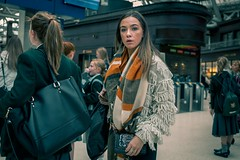 Station (Leanne Boulton) Tags: people portrait urban street candid portraiture streetphotography candidstreetphotography candidportrait streetportrait eyecontact candideyecontact streetlife hipshot woman female girl pretty face eyes expression mood feeling atmosphere autumn orange teal blue cinematic processing fashion style beauty beautiful brunette tone texture detail depthoffield bokeh naturallight light shade indoor station train public transport city scene human life living humanity society culture lifestyle crowd canon canon5dmkiii 40mm ef40mmf28stm colour glasgow scotland uk