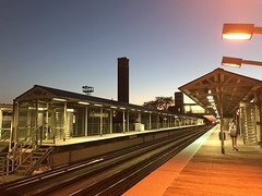 And the hour grows late (KevinIrvineChi) Tags: curbedchicago boingboing historic ashland chicago iphone iphone7 lines pink green authority tracks platformlight canopy sky dusk public transit train rail station cta
